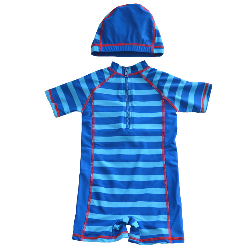 Hot Selling Big Boy Stripes Zipper Cute BOY'S One-piece Combination Two-Piece Set KID'S Swimwear Surfing Suit