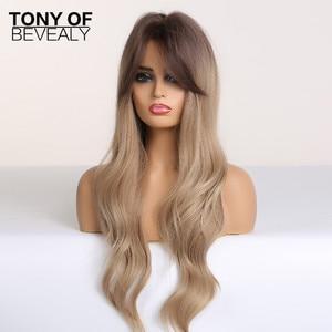 Image 2 - Pelucas sintéticas de pelo largo ondulado para mujer, pelo ombré marrón a rubio con flequillo para mujer, pelucas Afo Cosplay, fibra resistente al calor de parte media