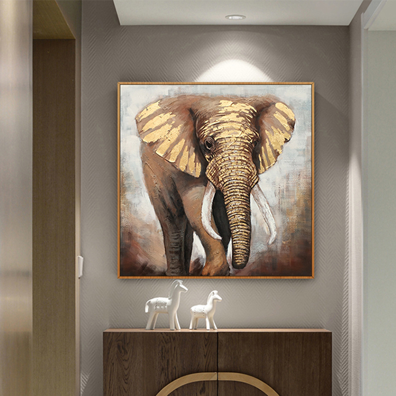 100 Hand Painted Africa Elephant Art Oil Painting On Canvas Wall Art Wall Adornment Pictures Painting For Live Room Home Decor in Painting Calligraphy from Home Garden