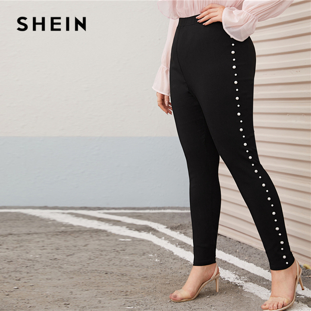SHEIN Plus Size Pearl Embellished Black Skinny Pants Women Autumn Spring Solid Elegant Long Fitted Trousers Pencil Pants 2