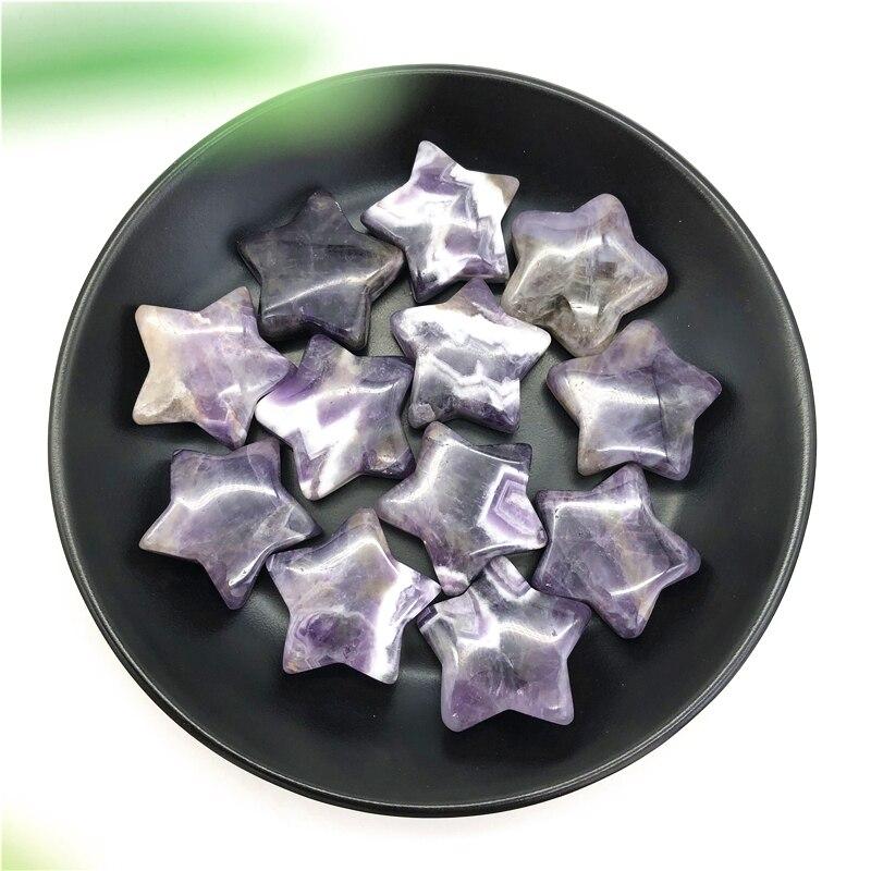 1PC 30mm Natural Dream Amethyst Crystal Gemstone Star Meditation Healing Chakra Polished Natural Stones And Minerals