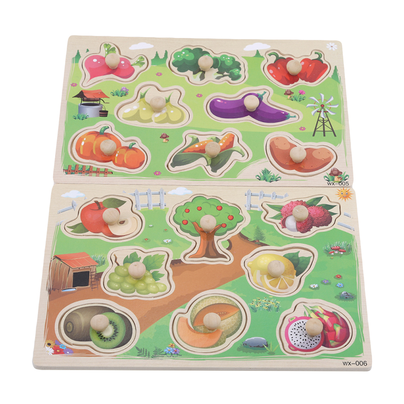 Cartoon Vegetable Fruit Wood Jigsaw Puzzle Popular Toys Hand Grab Board Wooden Puzzle Games Toys For Children