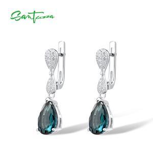 Image 2 - SANTUZZA Silver Drop kolczyki 925 srebro dla kobiet Magic Green Crystal biała cyrkonia sześcienna biżuteria