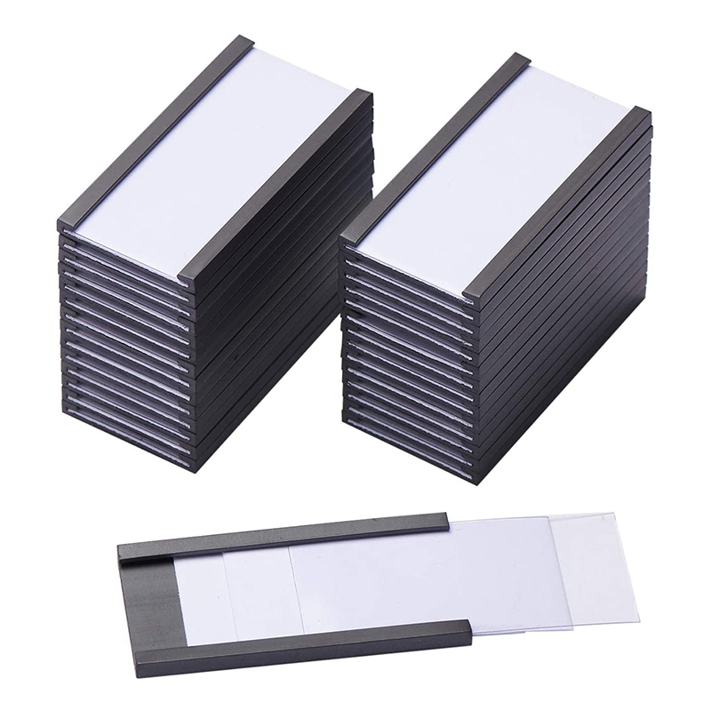 50Pcs Magnetic Label Holders with Magnetic Data Card Holders with Clear Plastic Protectors for Metal Shelf (1 x 2 Inch)