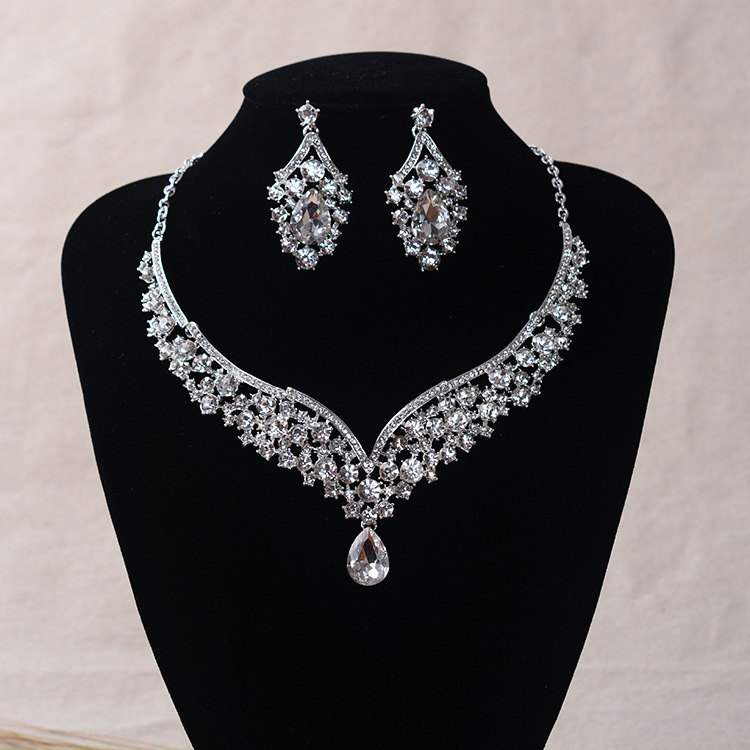 Tl152 Simple Marriage Man-made Diamond Bride Hair Accessories Wedding Dress Necklace Earrings Two-Piece Set Party Formal Dress A