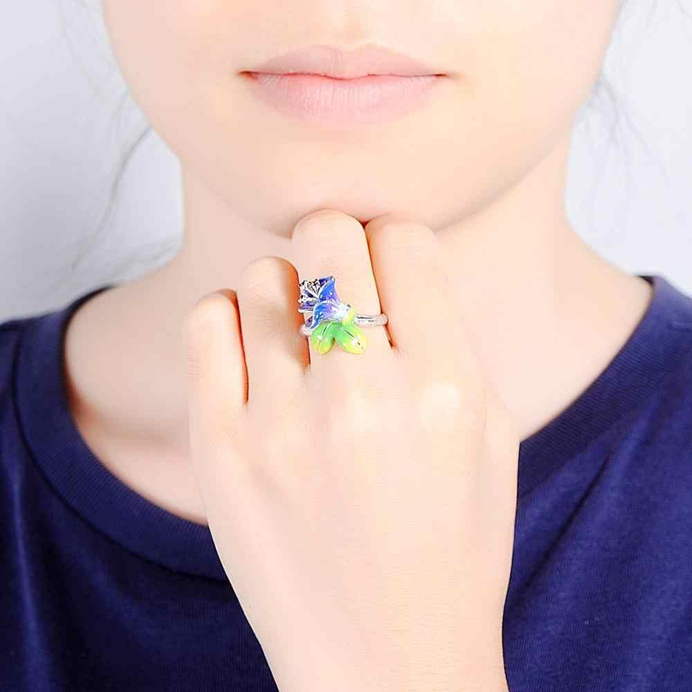 2019 באיכות גבוהה שני צבעים ורוד סגול אמייל טבעת פרח תליון עגיל אמייל פיליגרן קרפט עגיל סט תכשיטים