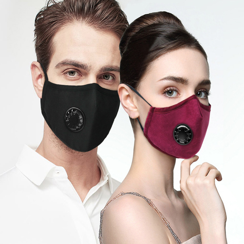 2pcs Respiratory Dust Mask Anti-fog Haze Dust Activated Carbon Filter Pm2.5 3D Cropped Breathable Valve Mouth Mask