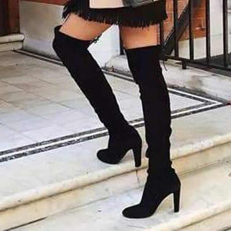 Sichten Marke Frauen Über Das Knie Stiefel 2019 Flock Leder Lace Up Sexy High Heels Herbst Frau Schuhe Winter Frauen stiefel Größe 35-43