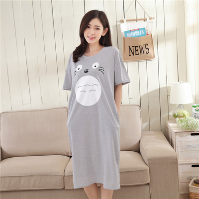 Korean-style Short Sleeve Princess Medium-length Dress Students Sweet Loose-Fit Totoro Pajamas Women's Summer Home Nightgown (Po