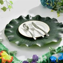 Artificial Europe Lotus Leaf Kitchen Placemat Mat Bowl Anti-Slip Pad Props Dining Table Decor Party