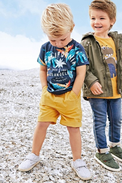 Summer Boys Clothes Sets Printing Coconut Trees T Shirt And Cotton Sports Short Pants Leisure Children Suit For Kids Under 8 Yrs