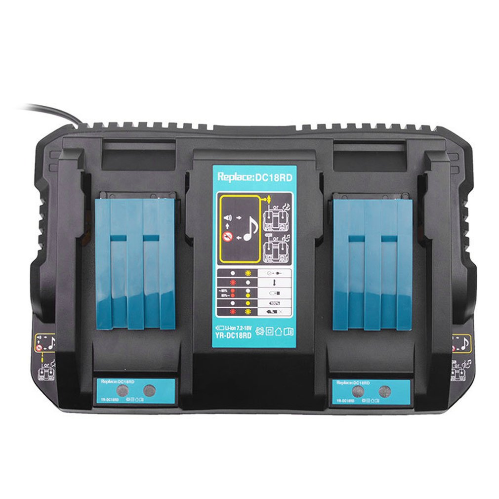 Lithion Dual Port Charger Lithion Battery Charger For Makita DC18RD 14.4-18V BL1815 BL1830 BL1840 BL1415 BL1430 BL1440