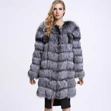 2020 Winter Women Coat Fluffy Sliver Fox Fur Outcoat Luxury Long Jacket Plus Size Female Warm Clothes Streetwear Fashion Coats(China)