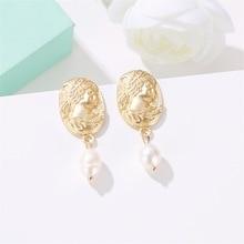 Fashionable Korean Hot Selling Earrings Simple Imitation Pearl Face Geometric Interest Wholesale Bohemian