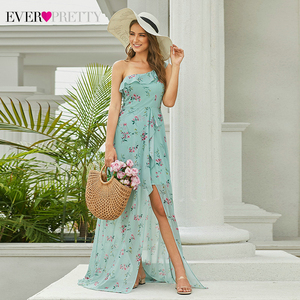 Image 2 - Simple Floral Printed Prom Dresses Ever Pretty A Line Side Split Sleeveless Sexy Beach Style Chiffon Party Dresses Vestidos 2020