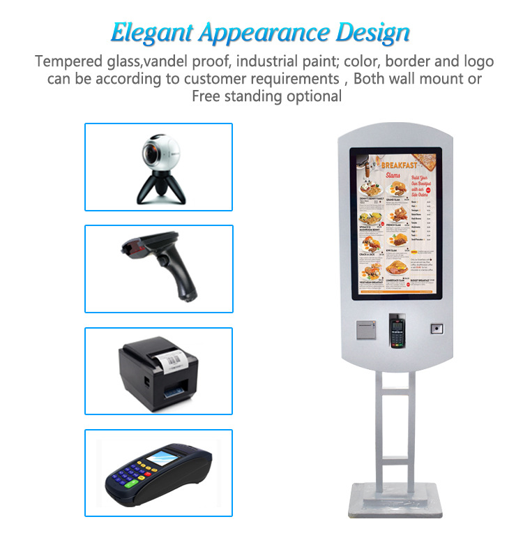 27 Inch Tft Lcd Touch Screen Restaurant Wifi Self Service Fast Food Ordering Kiosk