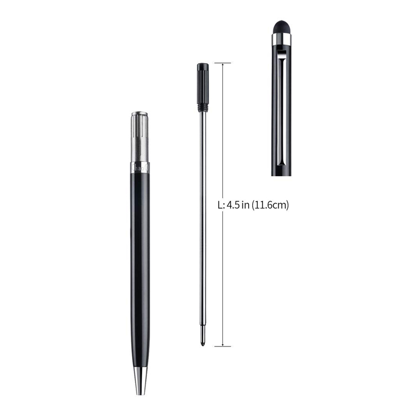500pcs Ballpoint pen 2 in 1 Fine Point Stylus Capacitive Touch Microfiber Stylus Touch Screen For ipad iphone White black gold