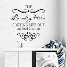 Laundry Room Wall Decals Bathroom Quote Washing Stickers Mural  Decal Sign Wallpaper PW248