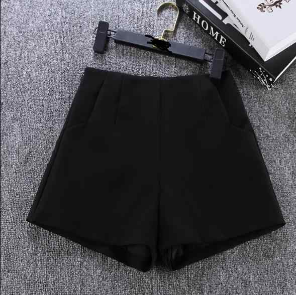 Summer Style Fashion Casual High Waist Shorts Black Gray White Casual Vintage Women Short S M L XL Wide Leg Shorts RQ112