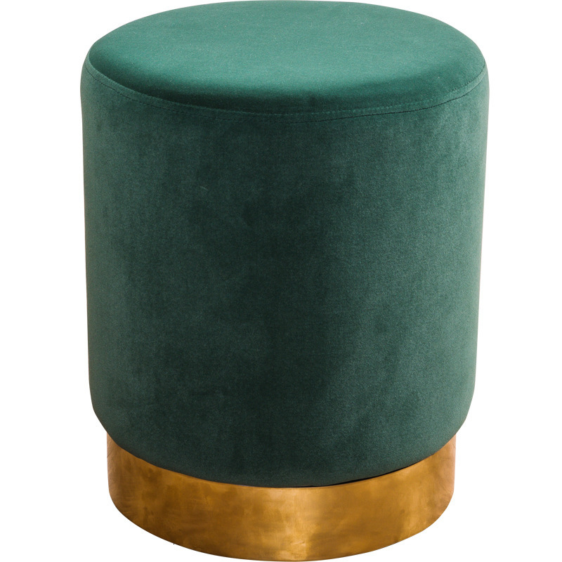 Northern Europe Light Luxurious Shoes Stool Concise Modern Household Stainless Steel Small Round Stool Fabric Art Dressing Stool