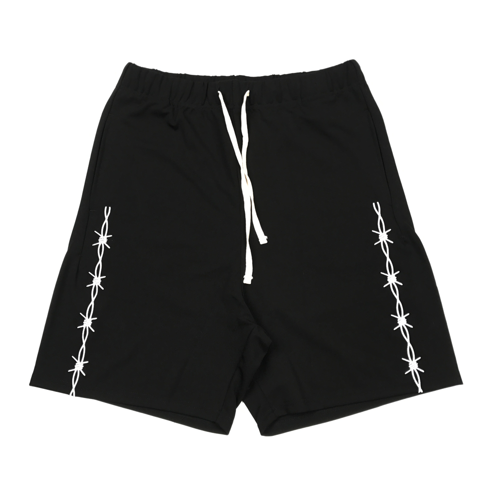Embroidery Black Track Shorts 2020ss Hip Hop Elastic Waist Sweat Short Men Streetwear