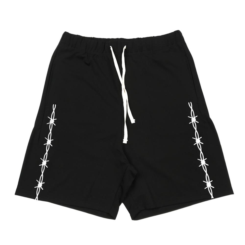 Embroidery Black Track Shorts 2020ss Hip Hop Elastic Waist Sweat Short Men Streetwear