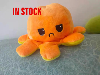 Cutes colour Simulation flip Octopus Plush Doll Kids Christmas Gift Double-sided Flip Toy Chirdren Birthday Gift fast shipping image