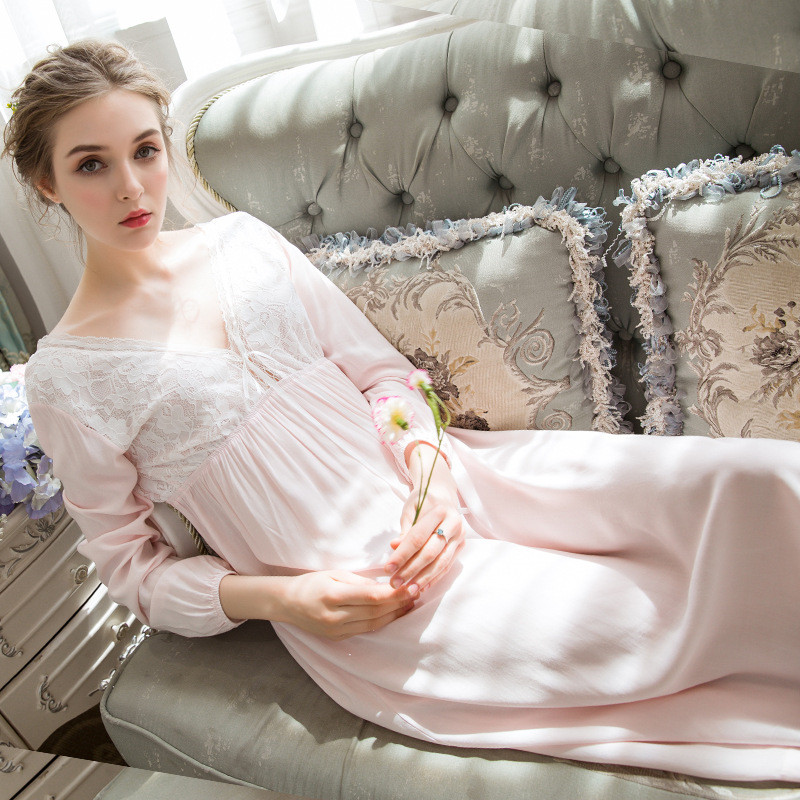 2019 Women Sexy Long Sleeve Cotton Nightgown Female Lace Sweet Princess Nightdress Elegant Loose Sleepwear V-neck Home Dress