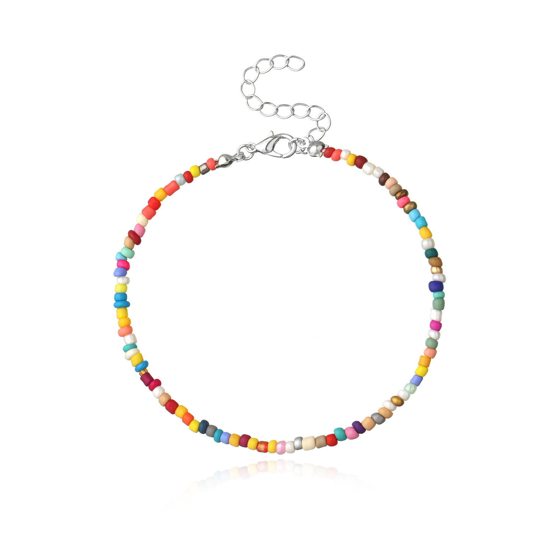 Bohemian Beach Ankle Bracelets Color Gravel Bead Women's Foot Ornaments Handmade Versitile Fashion Anklet