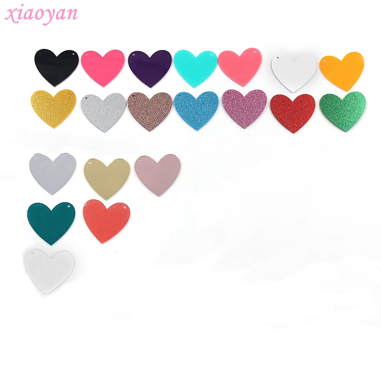 (4pcs /lot) AC1054-50mm Heart For Keychain Pink Glitter Heart Party Ornaments Laser Cut Acrylic Monogram For Keychain
