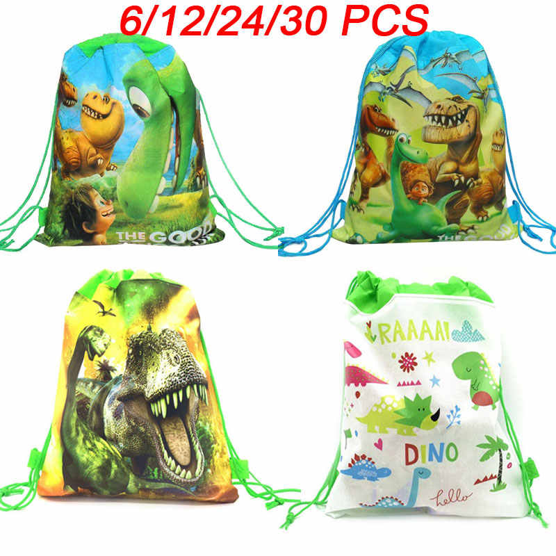 Cartoon Dinosaur Party Bags For Kids Birthday Drawstring  Backpack Non-Woven Fabric Child School Bag Organizer Pouch Laundry Bag