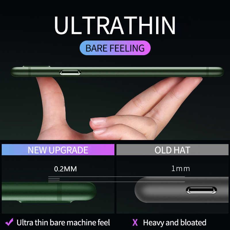 0.2 millimetri Ultra Sottile Caso Duro di Molle Per il iPhone 11 Pro X Xr Xs Max Opaca di Plastica Della Copertura Posteriore di Modo per il iPhone 6 6S 7 8 Più iPhone11