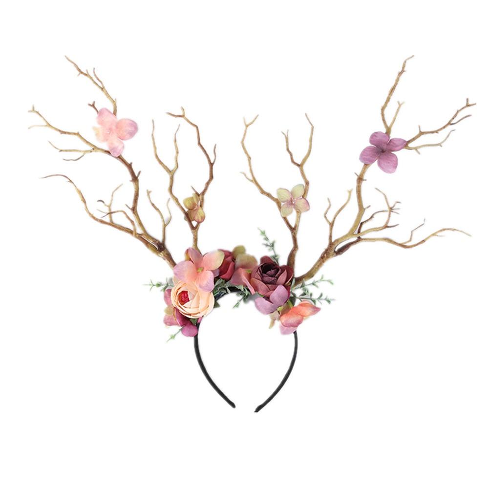 Weihnachten Stirnband Antlers Deer Hörner Märchen Blume Baum Zweig Retro Haar Hoop Crown Festival Party Requisiten Weihnachten Kostüm