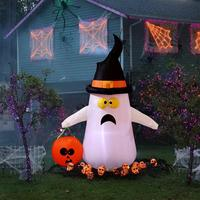 1.2m Halloween Inflatable Ghost Scary For Halloween Home Yard Ornaments Stage Prop With Color Changing LEDs Outdoor Scary Decor