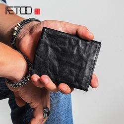AETOO небольшой кошелек мужской короткий раздел Молодежный простой винтажный Старый кожаный кошелек женский кожаный мягкий вертикальный вин...