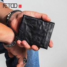 AETOO mała torebka męskie krótkie młodzieżowe proste vintage stary skórzany portfel damski portfel skóra miękka pionowa Vintage