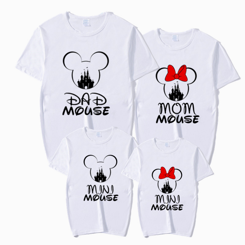 Family MOM DAD BABY T-shirt Mickey Mouse Print Matching Outfits T-Shirt Mommy Daddy Son Baby Girl Family Clothes Child T-Shirt