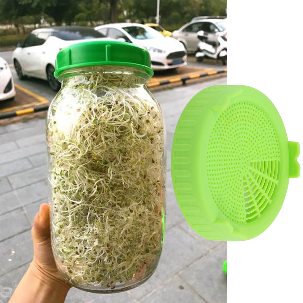 1 Pcs Sprouting Lid Food Grade Mesh Sprout Cover For Seed Growing Germination Vegetable Silicone Sealing Ring Lid