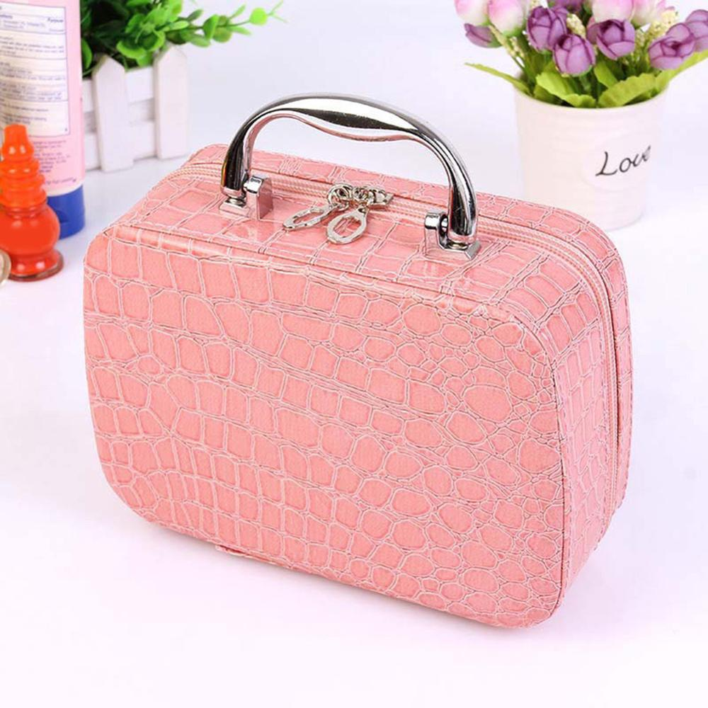 Women Stone Texture Zip Travel Makeup Storage Case Handbag Organizer With Mirror Beauty Box Cosmetics Jewelry Toolbox Girl Gift