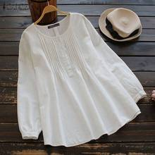 2020 ZANZEA Women Blouse Spring Vintage Pleated Shi
