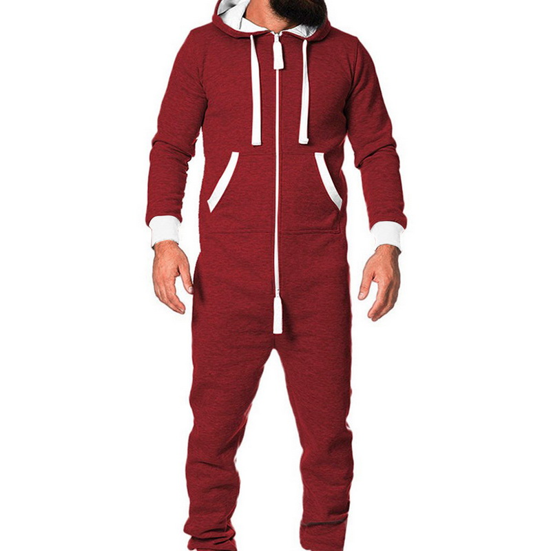 2019 Adults Unisex  Pyjamas Mens Women One Piece Cotton Pajamas Sleepwear  Sleepsuit Red/Blue Pajamas Male