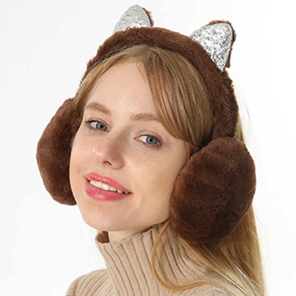 Hot Sale 2019 Women Plush Earmuffs Stylish Cute Cartoon Cat Ears Windproof Ears Warm Adjustable Solid Color Earmuffs