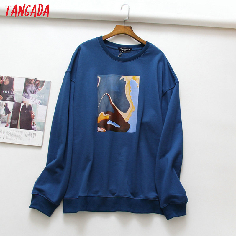 Tangada Women Painting Oversized Sweatshirts Long Sleeve Korean Style Pullovers Fashion Ladies Casual Tops XLJ22