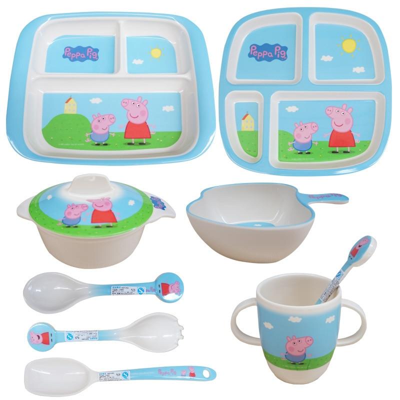 Peppa Pig Tableware Cartoon Anime George  Children's Dinnerware Kitchen Supplies Bowl Dishes Plate Fork Spoon Daily Necessities