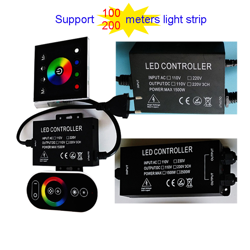 High Power RGB Controller Support 100-200m Light Strip AC110V-220V High Voltage Light String Controller With Remote Control  JQ