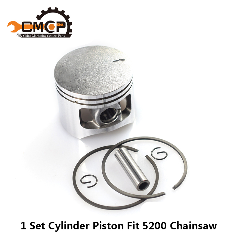 1 Set 5200 52CC Chainsaw Piston Ring Pin Kit 45mm Chainsaw Piston Set Chainsaw Piston Kit