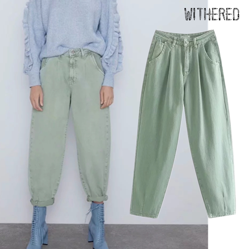 Withered 2019 Winter England Vintage Solid Jeans Woman High Waist Loose Jeans Pleated Jeans For Women Boyfriend Jeans For Women
