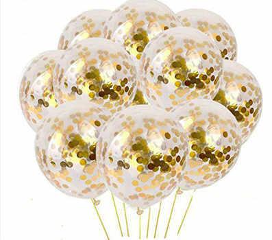 5 piezas de plata de oro confeti globos Feliz cumpleaños fiesta helio inflable globo de látex de boda decoraciones de fiesta de cumpleaños de @ 4