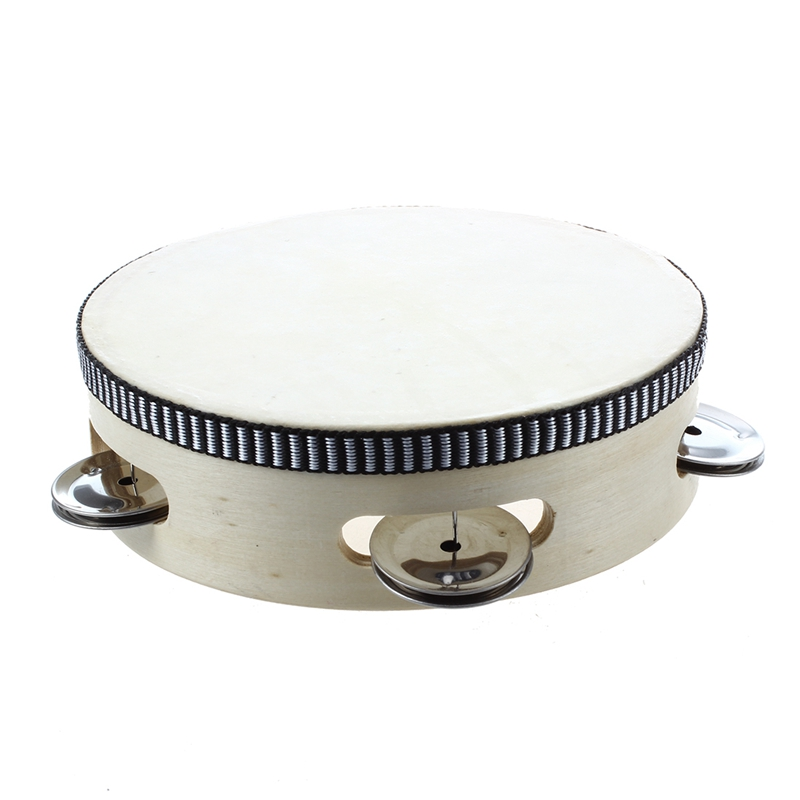 Children's toy tambourine with wood with 6