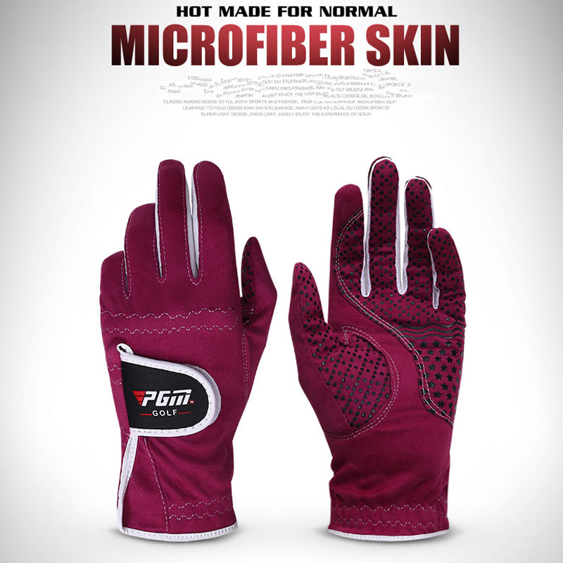 1 Pair <font><b>Women</b></font> Right Left Hand <font><b>Golf</b></font> <font><b>Gloves</b></font> <font><b>Womens</b></font> Microfiber Cloth Soft Breathable Abrasion <font><b>Gloves</b></font> Sports Accessories D0018 image